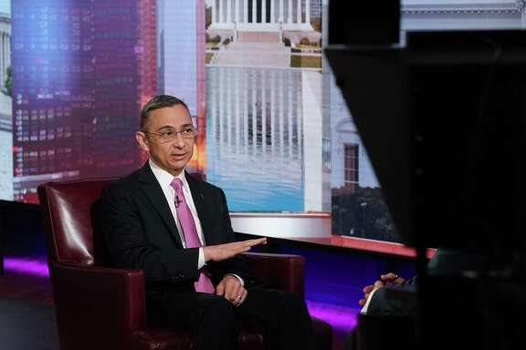 Peter Rodriguez, dean of Rice University School of Business, speaks during a Bloomberg Television interview in New York, U.S., on Friday, April 26, 2019. Rice University is bringing a four-day, intensive leadership program to The Woodlands this fall.