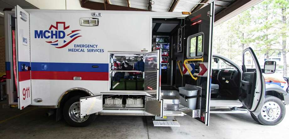 Compartments are opened on one of the new ambulances purchased by the Montgomery County Hospital District showing off the batteries for the hybrid vehicles and easier access to storage compartments Tuesday, Jan. 15, 2019 at the Montgomery County Hospital District sevice center in Conroe. MCHD has pushed forward a plan to replace 54 ambulances with the newer models over the next five years. The new ambulances have improved safety measures for paramedics and patients, easily accessible storage compartments and raised ceilings for better mobility inside the ambulance. Photo: Cody Bahn, Houston Chronicle / Staff Photographer / © 2018 Houston Chronicle
