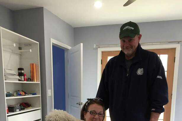 HARK ALS, plus friends and family of Newtown resident Laurena McCarthy, have announce an evening of comedy June 15 at Danbury's Palace Theatre to celebrate and support her as she faces advanced stage Amyotrophic Lateral Sclerosis (ALS). Pictured are Laurena and Bill McCarthy with their dog Penny.