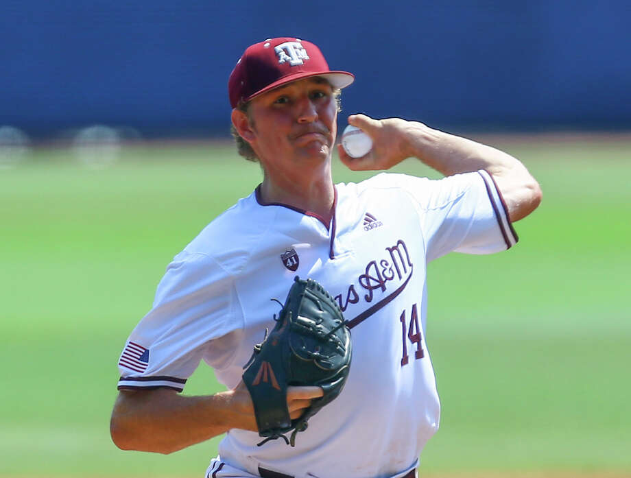 Texas A&M pitcher John Doxakis throws a pitch during the fourth inning of the Southeastern Conference tournament NCAA college baseball game, early morning Thursday, May 23, 2019, in Hoover, Ala. (AP Photo/Butch Dill) Photo: Butch Dill/Associated Press / Copyright 2019 The Associated Press. All rights reserved.