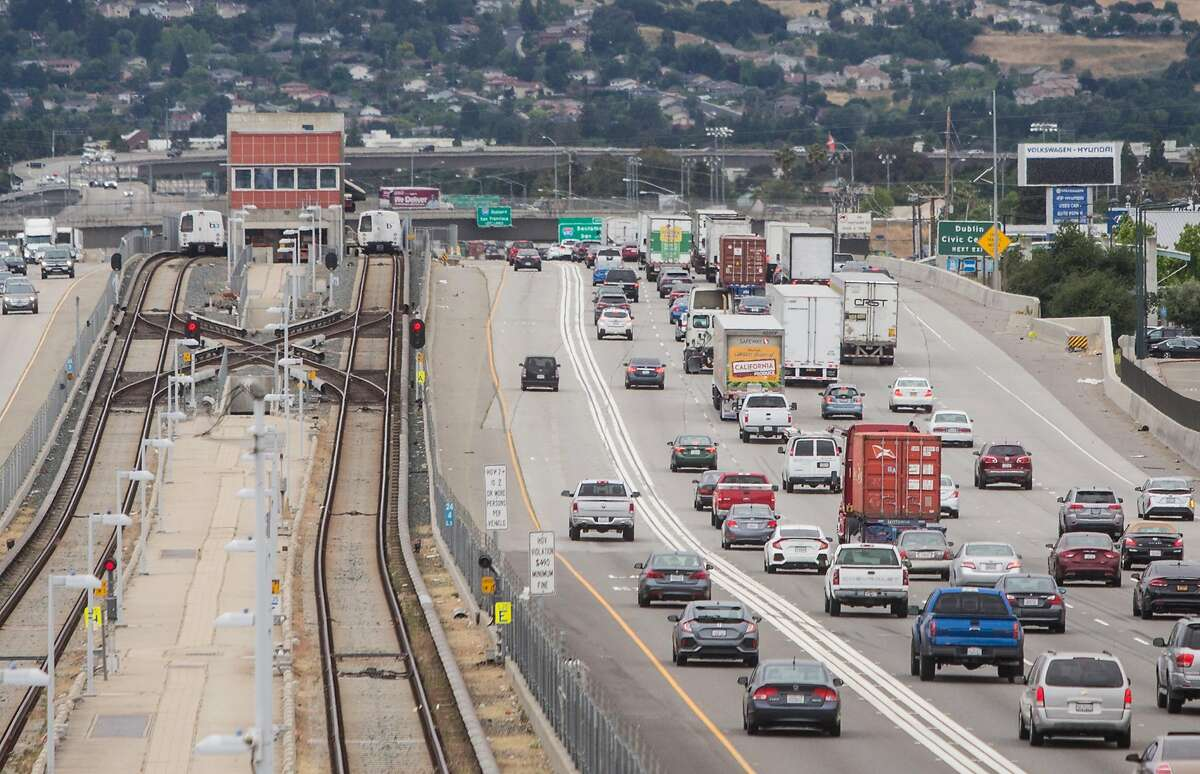 West Dublin/Pleasanton BART Station is seen from above as cars move west along Highway 580 in Dublin, Calif. Wednesday, May 23, 2018.