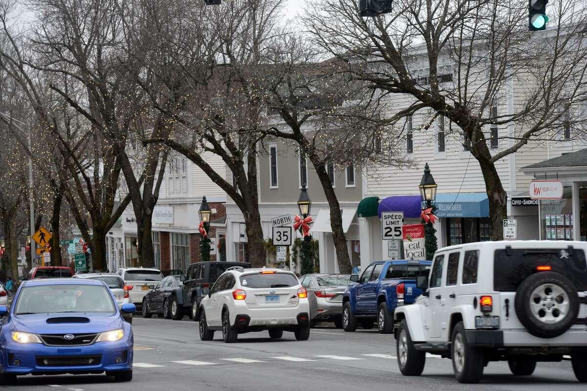The scene on a quiet Sunday morning along Main Street, in Ridgefield, Conn. Dec. 30, 2018.