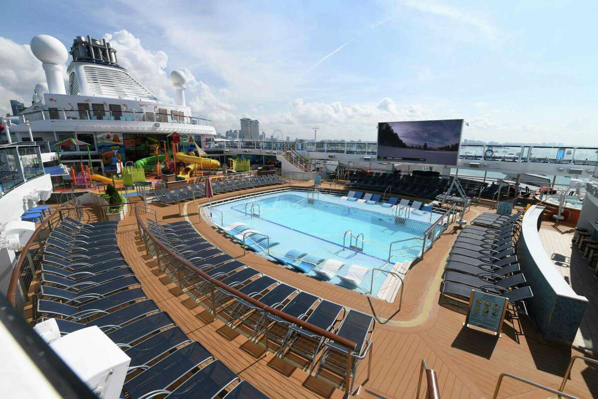 The pool area on the top deck of the Royal Caribbean International cruise ship named Spectrum of the Seas.