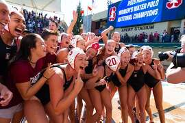 The Stanford women's water polo team celebrates its NCAA title, one of four won by the school in 2018-19.