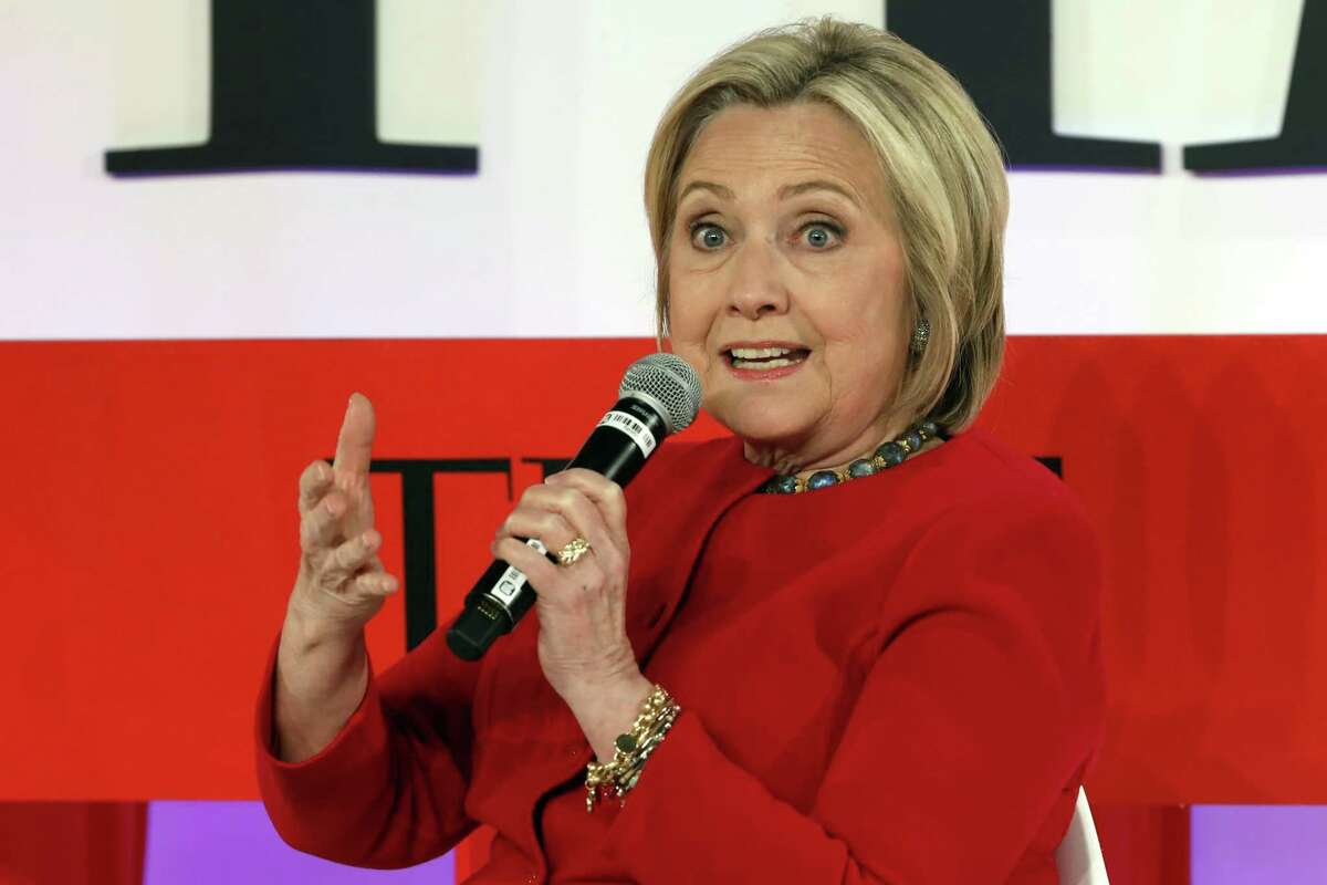 """FILE - In this April 23, 2019, file photo, Hillary Clinton speaks during the TIME 100 Summit, in New York. Clinton says the Trump administration's struggles with the U.S. House will show """"whether it's the rule of law or the rule of Trump"""" that the courts and Republicans obey. (AP Photo/Richard Drew, File)"""