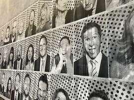 Photos taken at SFMOMA Art Bash were wallpapered at entrance