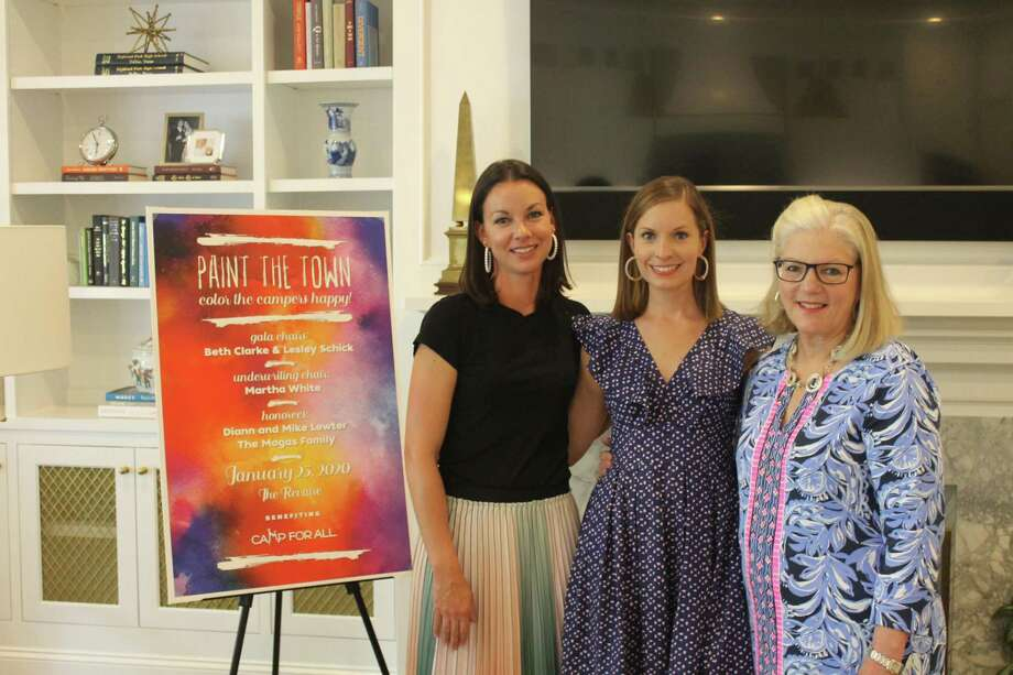 On Thursday, May 16, 2019, approximately 40 friends and supporters of Camp For All gathered to kick off the 2020 Gala planning at a private celebration hosted by Gala co-chairs, Beth Clarke and Leslie Schick. Pictured here are Lesley Schick, Beth Clarke and Pat Sorrells. Photo: Courtesy Photo