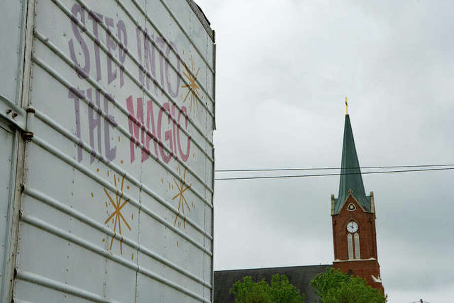 Preparation for Bonifest has begun; the parking lot of St. Boniface Catholic Church and St. Boniface Catholic School were full of festival trailers as of Thursday morning. Photo: Breanna Booker | The Intelligencer