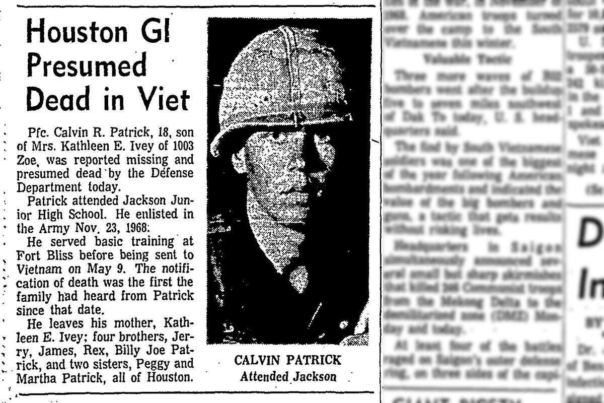 Pfc. Calvin R. Patrick, 18, of Houston, was reported missing and is presumed dead.