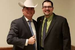 Katy Police Chief Noe Diaz, left, and at-large Katy City Councilman Chris Harris recently visited Austin to speak on behalf of legislation that would authorize the Katy Police Department to enforce commercial vehicle laws within city limits.