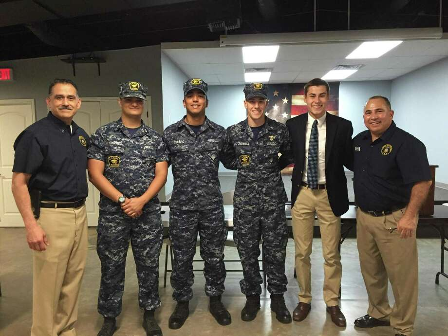 Katy Veterans of Foreign Wars Post 9182 hosted a May graduation ceremony for four senior Sea Cadets who areall moving on toward military service. The Class of 2019, from left, are:Instructor David Tellez, USN retired; Petty Officer Second Class Jordan Polychronopulos of Post Oak High School; Seaman Daniel Crespo of Tompkins High School; Petty Officer Third Class Josiah Criswell, who is home schooled; Petty Officer Third Class Nicholas Betts of Cinco Ranch High School; and Executive Officer Rene R. Cano, USN retired. Photo: Courtesy Katy VFW Post 9182 / Courtesy Katy VFW Post 9182