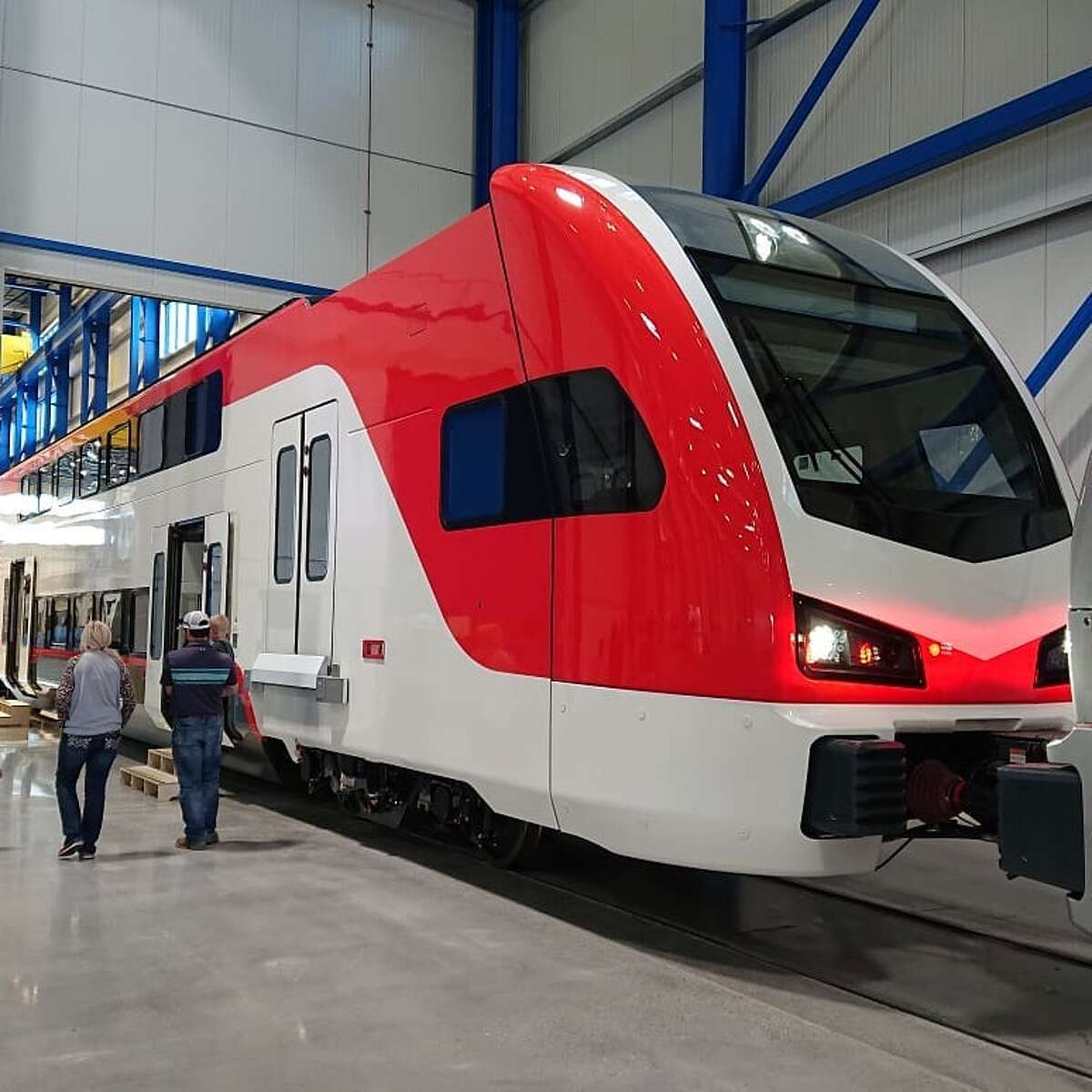 These images from the Stadler factory in Utah show what the fleet of new, electrified Caltrain trains will look like after they begin arriving in the Bay Area next year.