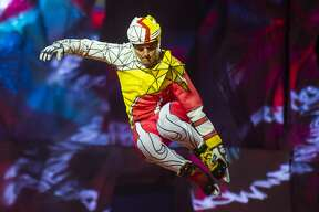 """Performers go through a number of stunts during a rehearsal on Wednesday, May 22, 2019 for Cirque du Soleil's """"Crystal,"""" which performs through Sunday, May 26, 2019 at the Dow Event Center. (Katy Kildee/kkildee@mdn.net)"""