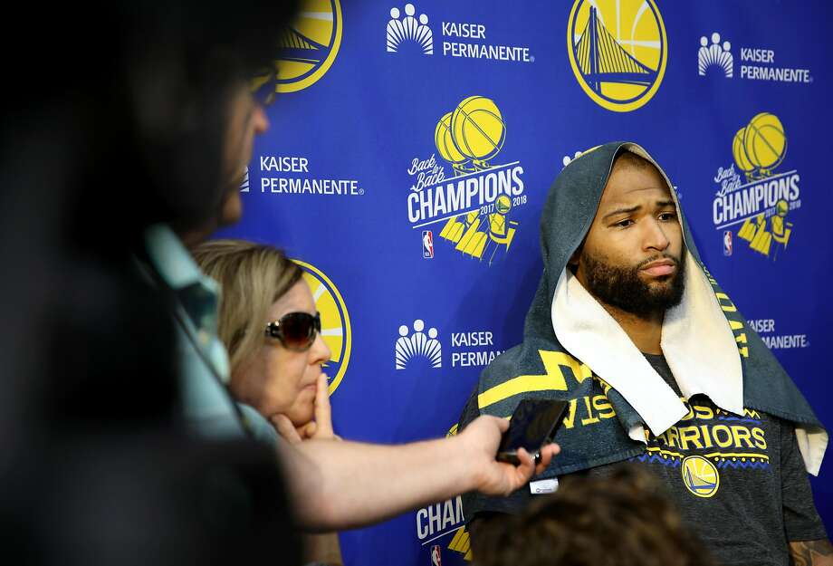 Golden State Warriors player DeMarcus Cousins answers questions from the media during basketball practice in Oakland, Calif., on Thursday, May 23, 2019. Photo: Yalonda M. James / The Chronicle