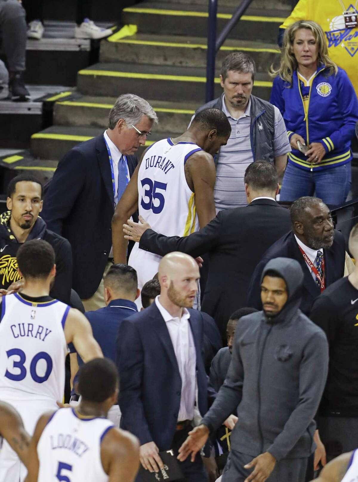 Golden State Warriors Kevin Durant heads to the locker room in the third quarter during game 5 of the Western Conference Semifinals between the Golden State Warriors and the Houston Rockets at Oracle Arena on Wednesday, May 8, 2019 in Oakland, Calif.