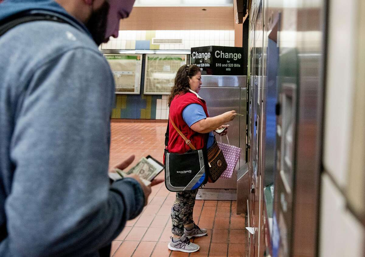 Rider purchase tickets at the 19th Street Mission BART Station in San Francisco, Calif. Wednesday, Thursday, May 23, 2019. Paper tickets will no longer be sold at the station going forward.