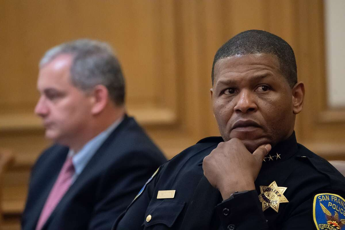 San Francisco Police Chief Bill Scott at the Police Commission meeting on Wednesday, May 15, 2019 in San Francisco, CA. In the background is Police Commissioner Thomas Mazzucco.