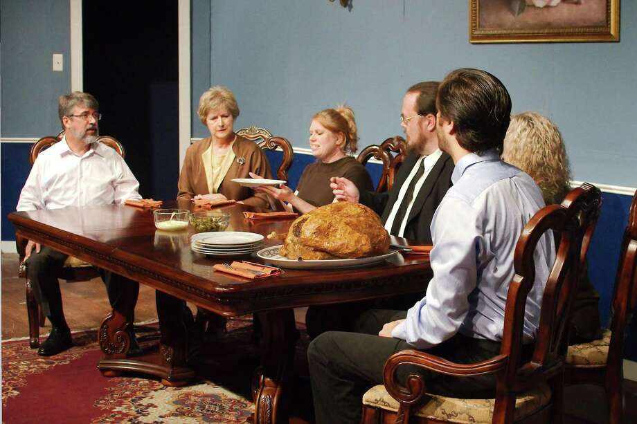 "Six cast members — Troy Nordyke, Ginny Rauth, Mary Ann Janecka, Thomas Weber, Nori Head and Riley Sims —tackle a total of 52 roles in ""The Dining Room"" at Bay Area Harbour Playhouse in Dickinson. Photo: Kirk Sides / Staff Photographer / © 2019 Kirk Sides / Houston Chronicle"