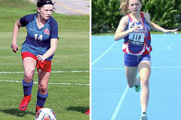 Carlinville's Rory Drew, a standout in soccer and track, finished fourth in the 400-meter run at the IHSA Girls State Track and Field Meet. Drew was also the leading scorer on the Cavaliers' soccer team, which faced Decatur St. Teresa for the Litchfield Sectional title at the same time as the state track final in Charleston. At left, Drew controls the soccer ball in a South Central Conference game and at right, she competes in the 400 Saturday at the state track meet in Charleston.
