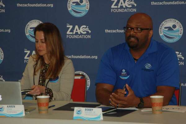 Karen Cohn, left, is leading an effort to create a drowning prevention action plan. She is joined Thursday by a roundtable of community stakeholders including Chief of Police James Heavey, town Parks and Recreation Director Joseph Siciliano and, at right, Bobby Walker Jr., head of the Boys & Girls Club of Greenwich.