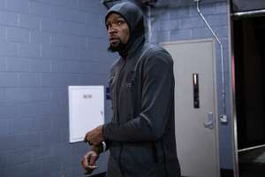 Golden State Warriors forward Kevin Durant (35) gets ready for game 4 of the NBA Western Conference Semifinals between the Golden State Warriors and Houston Rockets at the Toyota Center in Houston, Texas, on Monday, May 6, 2019.