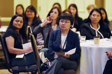 Attendees listen to key note speaker Nora Denzel during the first Saratoga International Global Women Conference on Thursday, May 23, 2019 at the Saratoga Hilton in Saratoga Springs, NY. (Phoebe Sheehan/Times Union)