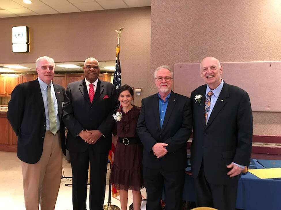 From left: Albany city treasurer Darius Shahinfar, Pastor David Traynham, meteorologist Alyssa Caroprese, Albany County Department of Mental Health director Stephen Giordano and Albany Rotary Club member Brian Barr. (Submitted photo)