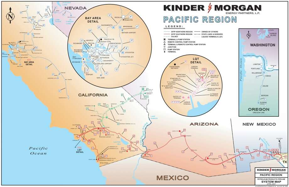 Houston pipeline operator Kinder Morgan plans to boost capacity along a pipeline between El Paso and Tucson that will allow customers to increase exports of gasoline and diesel to Mexico.  NEXT: See major Texas pipeline projects.  Photo: Kinder Morgan
