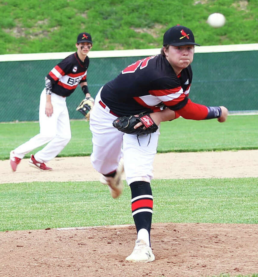 Alton pitcher Adam Stilts fired a complete-game, one-hit shutout against Belleville East in the Redbirds' 3-0 semifinal victory Thursday in the Alton Class 3A Regional Tournament. Photo: Greg Shashack | The Telegraph