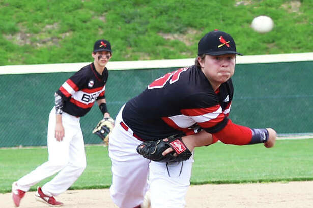 Alton pitcher Adam Stilts fired a complete-game, one-hit shutout against Belleville East in the Redbirds' 3-0 semifinal victory Thursday in the Alton Class 3A Regional Tournament.