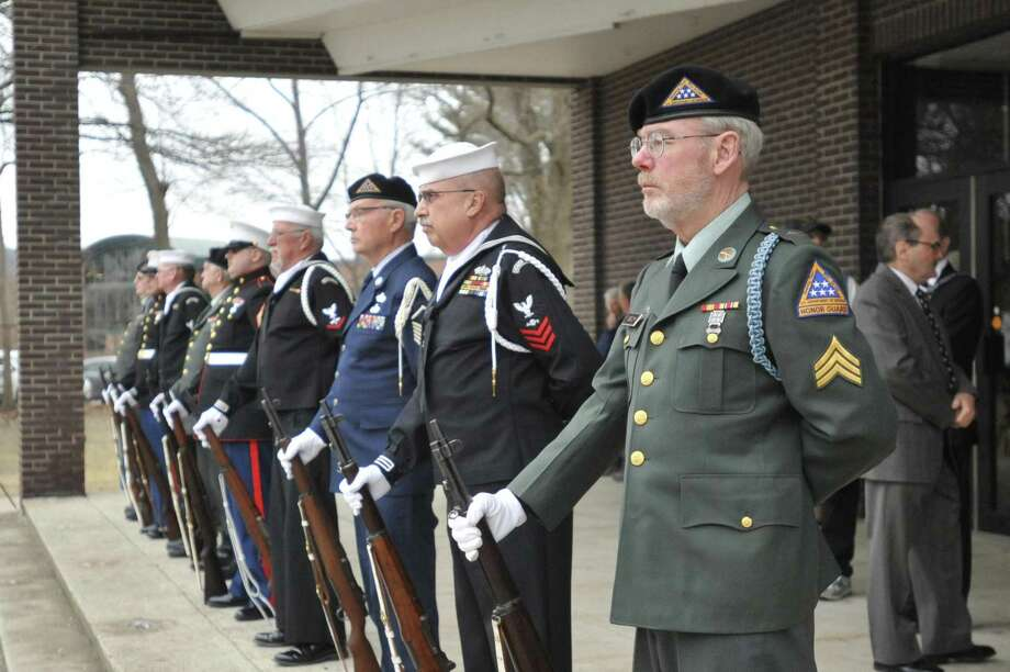 The Torrington Veteran Support Committee and its member groups will honor Veterans Day with their annual ceremony on Monday at Coe Memorial Park. Above, veterans participate in the 2017 ceremony honoring veterans of the Vietnam War. Photo: Ben Lambert / Hearst Connecticut Media /