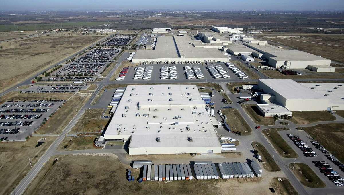 The Toyota Motor Manufacturing, Texas, Inc. plant in south Bexar County is seen in this Jan. 18, 2013 aerial photo. The TMMTX plant, announced in 2003, now builds Tundra and Tacoma pickup trucks.