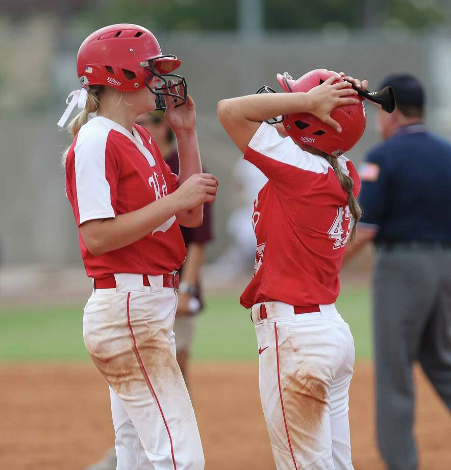 Katy's #17 Chloe Cobb and # 47 Cait Calland celebrate after Cobb hit a single and an RBI in action between Deer Park and Katy Thursday, May 23, 2019, in Houston. Photo: Steve Gonzales, Staff Photographer / © 2019 Houston Chronicle
