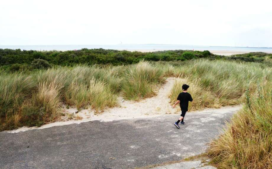 A Dutch boy runs along large sand dune bolstered by a man-made core to provide storm-surge protection. A similar system is being proposed for Galveston Island and the Bolivar Peninsula. photo credit: Sam Brody/Texas A&M University Galveston Photo: Sam Brody/Texas A&M University Galveston / handout