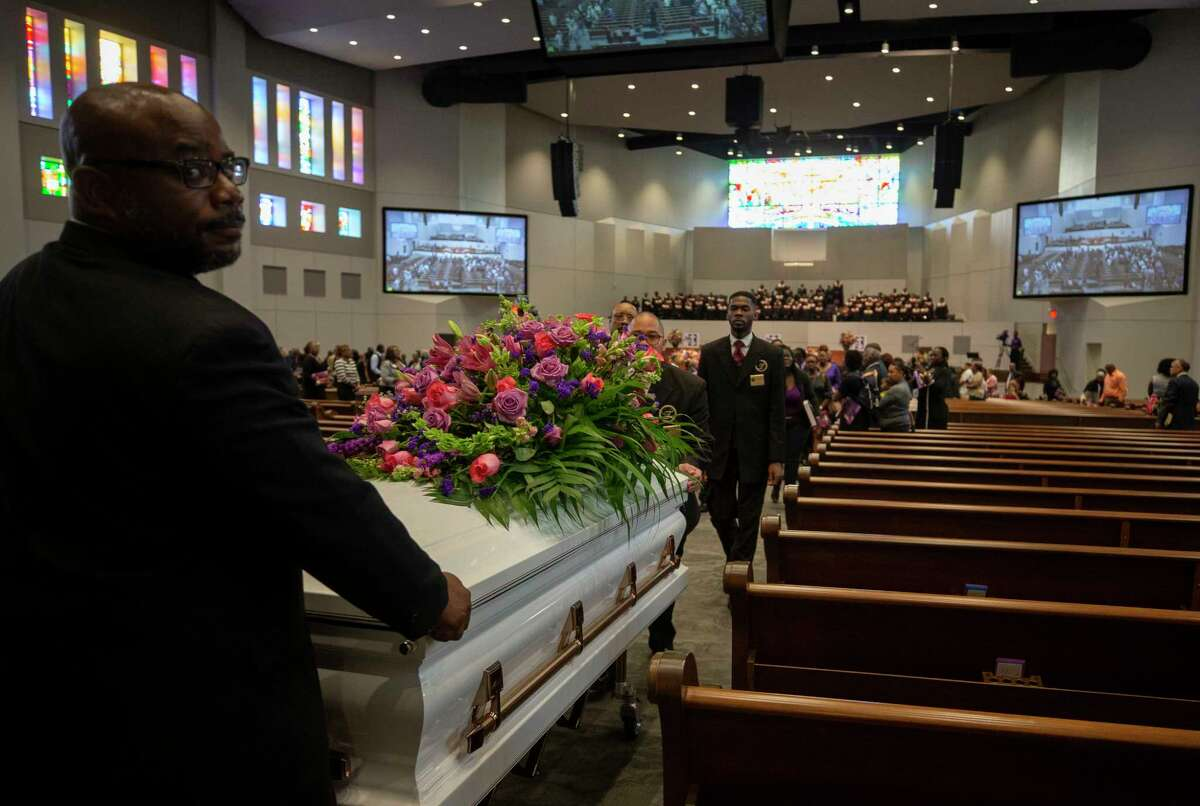 Pamela Turner's casket is taken out of the Lilly Grove Missionary Baptist Church after the conclusion of the her funeral service Thursday, May 23, 2019, in Houston. Turner was killed during an altercation with Baytown Police officer Juan Delacruz on Monday, May 13.