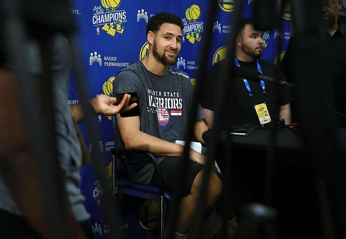 Golden State Warriors shooting guard Klay Thompson talks to the media following basketball practice at the Rakuten Performance Center in Oakland, Calif., on Thursday, May 23, 2019.
