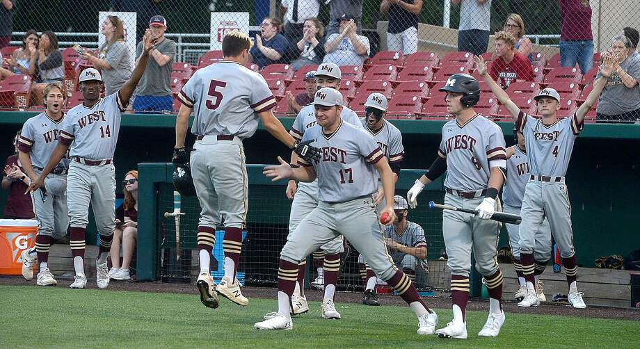 Magnolia West reacts after they pull ahead against Nederland during Game 2 of their Region III-5A semifinal series Thursday at the University of Houston. Photo taken Thursday, May 23, 2019 Photo: Kim Brent / The Enterprise / BEN
