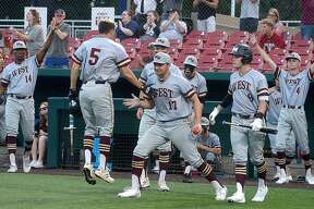 Magnolia West reacts after they pull ahead against Nederland during Game 2 of their Region III-5A semifinal series Thursday at the University of Houston. Photo taken Thursday, May 23, 2019