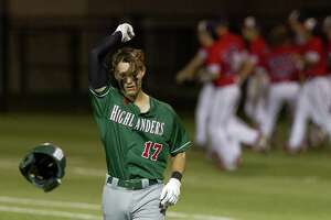 Dylan McDowell #17 of The Woodlands reacts after grounding out to end the seventh inning during a Game 2 of a Region II-6A semifinal high school baseball series at East View High School, Thursday, May 23, 2019, in Georgetown.