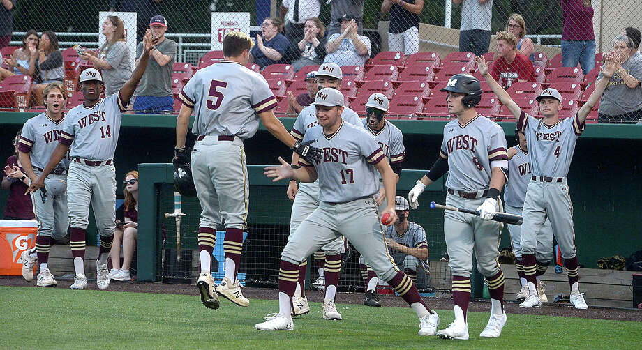 Magnolia West reacts after they pull ahead against Nederland during game 2 of their regional semifinal Thursday at the University of Houston. Photo taken Thursday, May 23, 2019 Kim Brent/The Enterprise Photo: Kim Brent, The Enterprise / BEN