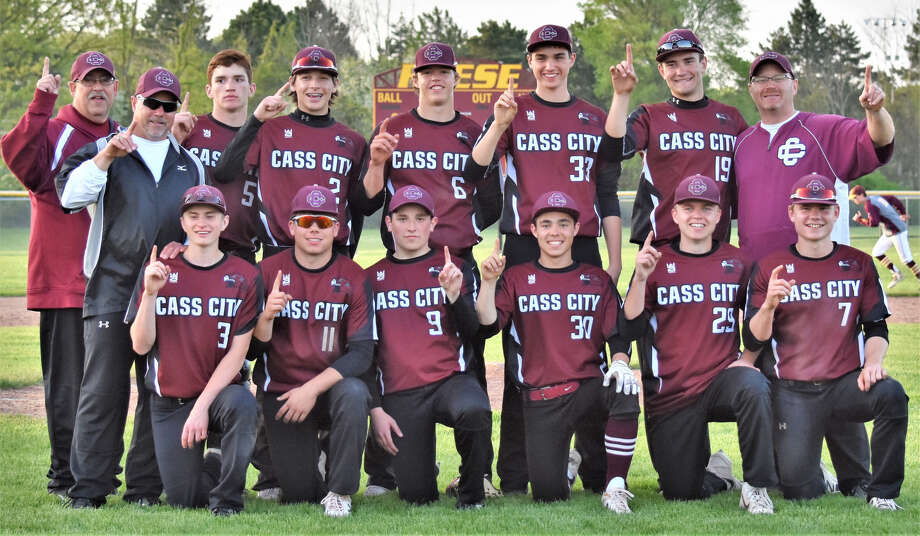 The Cass City baseball team poses after putting the finishing touches on a perfect run through the Greater Thumb West, taking two from Reese, Wednesday night, in Reese. (Amy Cuthrell/For the Tribune)