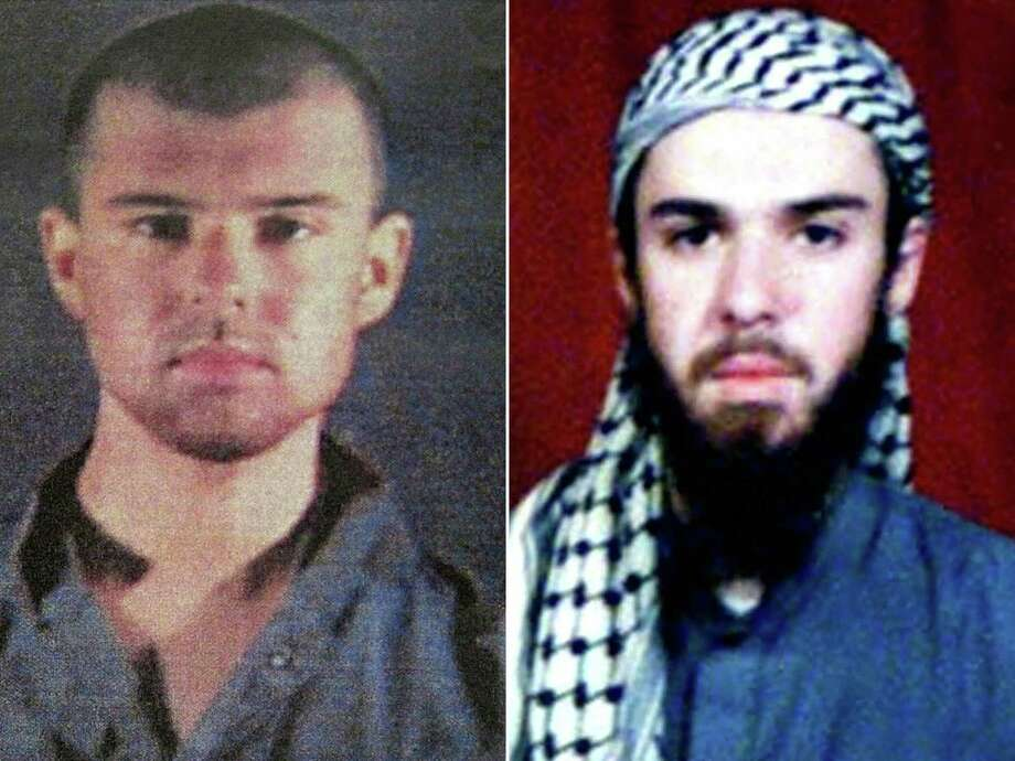 "(COMBO) This combination of pictures created on April 17, 2019, shows at left a police file photo made available February 6, 2002 of the ""American Taliban"" John Walker Lindh and at right a February 11, 2002 photograph of him as seen from the records of the Arabia Hassani Kalan Surani Bannu madrassa (religious school) in Pakistan's northwestern city of Bannu. - John Walker Lindh, dubbed the ""American Taliban"" after he was captured fighting for the Islamist insurgents in November 2001, will be freed from prison on May 23, 2019 amid concerns he has not forsaken the radical ideology that took him to Afghanistan. (Photo by AFP)TARIQ MAHMOOD,---/AFP/Getty Images Photo: TARIQ MAHMOOD / AFP or licensors"