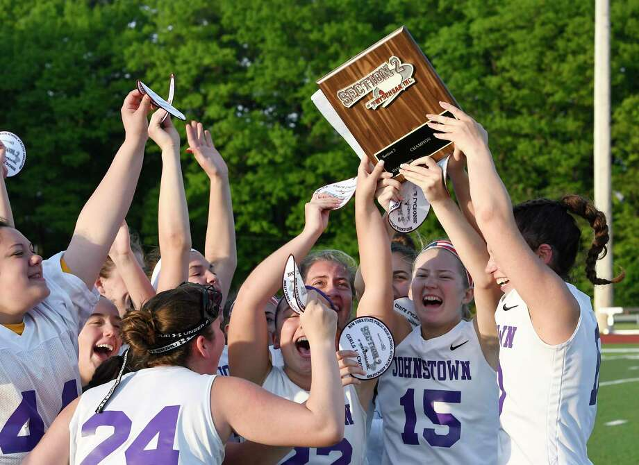 Johnstown players celebrate a 16-10 win against Holy Names during a Section II Class D Girls' high school Lacrosse championship Thursday, May 9, 2019, in Rotterdam, N.Y. Johnstown won (Hans Pennink / Special to the Times Union) Photo: Hans Pennink / Hans Pennink