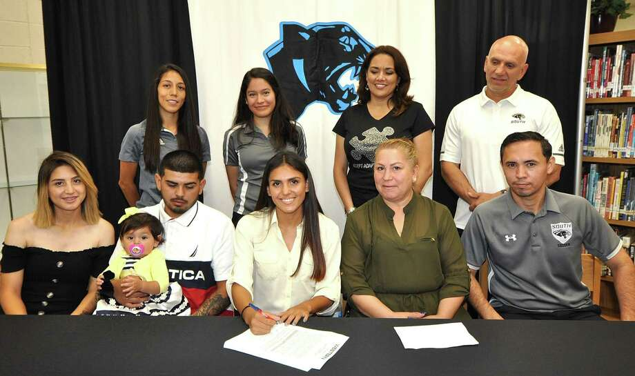 United South's Kassy Esparza, center, signed her national letter of intent Thursday to play soccer at Western Texas College in Snyder. Photo: Courtesy Of United South Athletics