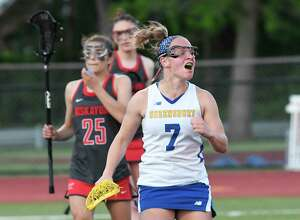 Queensbury's Jordan Bentley (7) reacts after scoring against Niskayuna during a Section II Class B Girls' high school Lacrosse championship Thursday, May 9, 2019, in Rotterdam, N.Y. (Hans Pennink / Special to the Times Union)