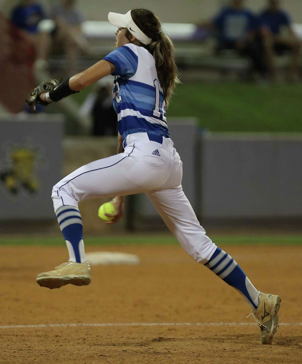 Barbers Hill pitcher Samantha Landry in action against Angleton Thursday, May 23, 2019, in Houston.