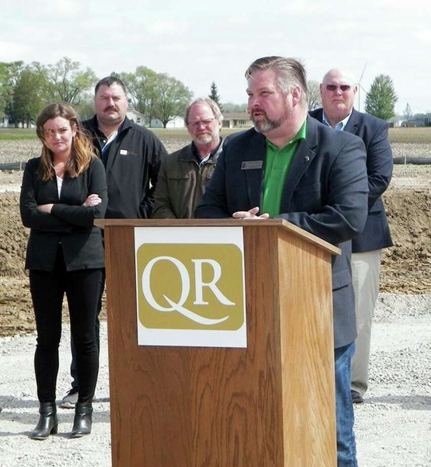 When soybeans are harvested this fall, producers will have the option of taking them to Quality Roasting LLC's $12 million processing plant that is being built at South Bradleyville Road in Gilford Township. One of the guest speakers at a recent groundbreaking ceremony was state Rep. Phil Green, a Millington Republican. The facility will have the capacity to process about 2.2 million pounds of soybeans a year which is expected to generate additional revenue of $500,000 for farmers. (Courtesy Photo)