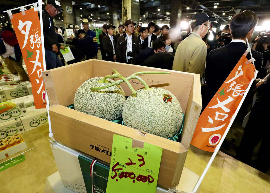 """Two Yubari melons fetched a record-high price of 5 million yen (about $45,600) at the first auction of the year for the fruit at the Sapporo Central Wholesale Market in Sapporo, Japan on Friday, breaking the previous record of 3.2 million yen. Pocca Sapporo Food & Beverage Ltd. in Nagoya submitted the winning bid for the fruit, which is a well-known summer delicacy in Yubari. The company was taking part in the auction for the first time to mark its 10th year of selling beverages that contain Yubari melon. """"This is an expression of our gratefulness to the local agricultural cooperative and melon farmers [in Yubari],"""" said Yoshihiro Iwata, the president of the company. Photo: Japan News-Yomiuri / Japan News-Yomiuri"""