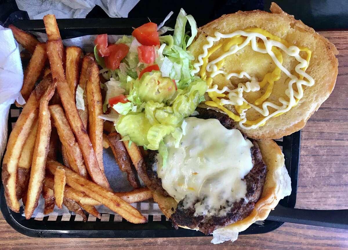 Cheeseburger and hand-cut fries at Taqueria Guadalajara