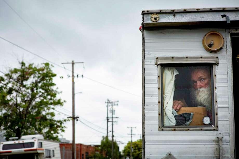 Tom Valledao in his RV on Eighth Street in Berkeley, California. Photo: Photo For The Washington Post By Rachel Bujalski / The Washington Post